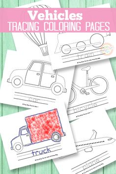 These tracing coloring pages are so fun for kids.  We love the vehicles theme!