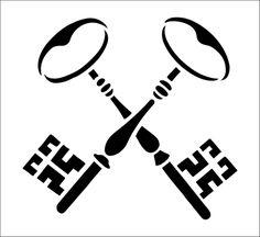 Crossed Keys Solo stencil from The Stencil Library BUDGET STENCILS range. Buy stencils online. Stencil code CS93.