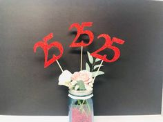Excited to share this item from my #etsy shop: Birthday Centerpiece, 25th Anniversary, 25th Celebration, 25th Birthday, 25th class reunion, Class of 1995, 25th Caketopper, 25th Decoration Graduation Cake Toppers, Graduation Decorations, Birthday Decorations, 25th Birthday Parties, Birthday Party Centerpieces, 25 Birthday, Glitter Cardstock, 25th Anniversary, Sticks