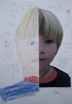dee*construction: art for kids - symmetry + portraits *Idea for take a photocopy and fold down middle. Kids can draw the other side of their face, then switch folder side over and draw other side. Mount with photo. Kindergarten Art, Preschool Art, Lessons For Kids, Art Lessons, Arte Elemental, Ecole Art, Cool Art Projects, Art Classroom, Art Club