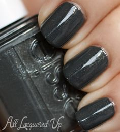 "Essie Fall 2013 ""For The Twill of It"" Nail Polish Swatches //  Essie Cashmere Bathrobe is a charcoal grey filled with crystal glass flecks. It's a pretty neutral grey in that it doesn't have a strong green, blue or brown pull in its base. //Got it!"