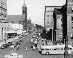 This view of Public Square in downtown Canton was taken in 1955, leading up to the Sesquicentennial celebration in August. The courthouse is on the right. Beyond that it is the St. Francis Hotel. Today, the archway of the hotel building still stands in that spot, next door to the courthouse.  From the McKinley Presidential Library & Museum, Canton, Ohio