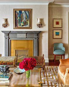 "Luxe Interiors + Design on Instagram: ""Creative combo of colors and patterns. #LuxeAtHome. @sandow Photo: @ericpiasecki; Architecture and Home Builder: @trhnewyork; Interiors:…"" Manhattan Apartment, New York City Apartment, Vintage Stool, Home Builders, Living Room Designs, Luxury Homes, Modern Furniture, Architecture Design, Traditional"