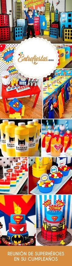 Los personajes ficticios con grandes poderes conocidos como superhéroes han causado gran impacto en el mundo entero logrando conquistar los corazones de millones de personas, entre ellas los más pequeños, por ello que te invitamos a celebrar el cumpleaños de tu hijo con una fantástica reunión donde Batman, Superman y El Hombre Araña serán los principales protagonistas. Blaze Birthday Cake, Batman Birthday, Girl Superhero Party, Superman Party, Comic Book Parties, Wonder Woman Party, Fiesta Decorations, Diy Blog, Fiesta Party