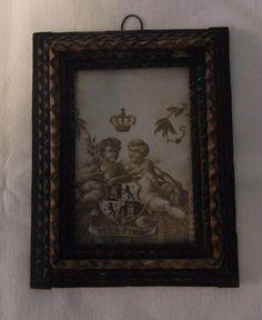 Antique German Tramp Art Picture Frame Cherub Angel #A #trampart