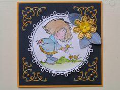 Trijntjes Kaarten: Daisy geel blauw.