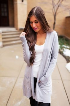 Solid Grey Pocket Cardi - Dottie Couture Boutique