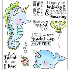 Darcie's Clear Stamp Set - Fin Tastic - Darcie's clear stamps feature adorable designs that are great for all kinds of paper crafting projects. Little Mermaid Drawings, Tampons Transparents, Love You Friend, Tiddly Inks, Cute Clipart, Card Sentiments, Scrapbooking, Cute Images, Cartoon Kids