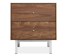 "Hudson Nightstands with Steel Base - Nightstands - Bedroom - Room & Board--20"" wide, also one-drawer version"