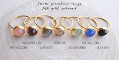 8mm gold gemstone ring. GOLD vermeil gem ring. slim stacking ring. alexandrite moonstone chalcedony
