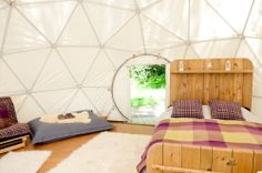 Comfy double beds in the domes