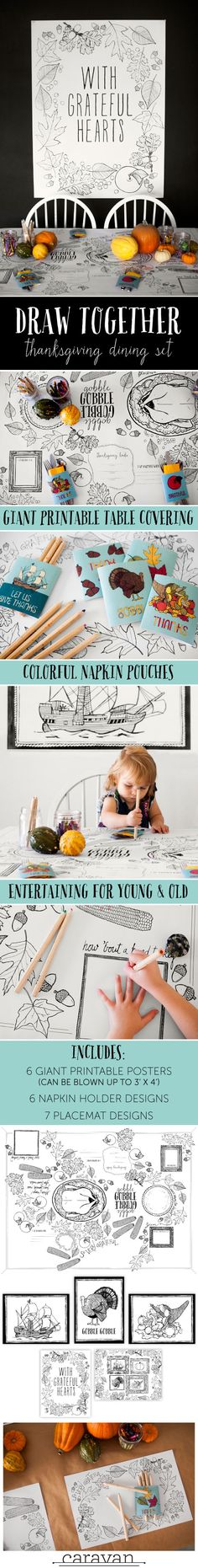 Easy printable Thanksgiving table decor. Works great for kids' table AND for grown-ups too! $8 for set that includes tablecloth/runner, 7 placemat designs, wall poster/giant coloring pages, and 6 name card napkin pouches