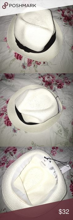 SONOMA women's Grosgrain ribbon Fedora - white BRAND NEW FADORA HAT - white SONOMA Accessories Hats