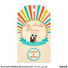 Retro 25th Wedding Anniversary Gift Tag Pack Of Gift Tags
