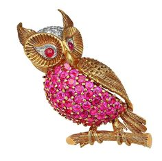 JE Caldwell Ruby Diamond Gold Owl Pin | From a unique collection of vintage brooches at https://www.1stdibs.com/jewelry/brooches/brooches/