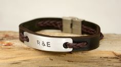 Men's Bracelet Leather Bracelet Personalized Men by PukkaMen