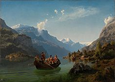 Bridal Procession on the Hardangerfjord - Wikipedia List Of Paintings, Farmer's Daughter, Fantasy Artwork, Online Art Gallery, Location History, Modern Art, Sailing, Mountains, Bridal
