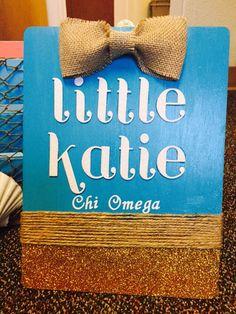 Beach themed sorority clipboard chi omega big little burlap twine