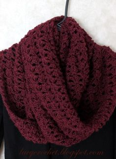 Crochet Scarf Lacy Infinity Scarf in Burgundy Color ~ free pattern Crochet Scarves, Crochet Shawl, Crochet Clothes, Crochet Stitches, Crochet Hooks, Knit Crochet, Crochet Infinity Scarf Free Pattern, Crochet Summer, Knitting Patterns
