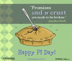 """""""Promises and pi crusts are made to be broken"""" -Jonathan Swift An illustration we did for NCTM Illuminations Math Games, Math Activities, The Learning Company, Happy Pi Day, Math Boards, Life Of Pi, Math Humor, Maths Puzzles, Math Classroom"""