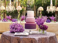 2014 Color Radiant Orchid Wedding Cake Display Table, Anna Kim Photography LOVE that table cloth Orchid Wedding Cake, Purple Wedding, Wedding Colors, Wedding Flowers, Wedding Day, Wedding Cakes, Orchid Cake, Sequin Wedding, Wedding Blog