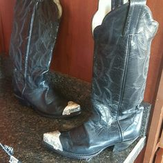 Tony Lama Black boots. We call them COWBOY BOOTS, these are a pair of very cute ladies ,size 6M, black boots with silver tips. TONY LAMA Shoes Heeled Boots