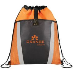 - Large main compartment with drawstring rope closure - Open top front pocket with mesh accents and velcro strap closure - Reinforced side tabs