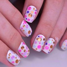 Beautiful nail colors, Bright colorful nails, Colorful nails 2017, Droplet nails, Easy nails for girls, Light summer nails, Polka dot nails, Stylish nails