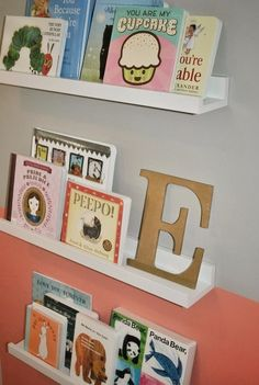These are shelves from Ikea work perfectly for displaying babies books.