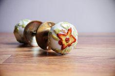 Antique White Porcelain Door Knobs With Gorgeous Floral Details / Door Handles / Brass Escutcheons / Flower and Leaves Design