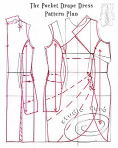 well-suited: Pattern Puzzle - The Pocket Drape 2 Sewing Paterns, Easy Sewing Patterns, Sewing Tutorials, Sewing Hacks, Clothing Patterns, Dress Patterns, Pattern Cutting, Pattern Making, Pattern Drafting