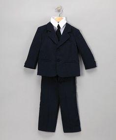 Love this Dark Navy Five-Piece Suit Set - Infant, Toddler & Boys by LA Sun on #zulily! #zulilyfinds