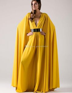 2017 Arabic Long Formal Evening Dresses With Cape Gold Sashes Sexy Deep V Neck Yellow Chiffon Muslim Dubai Kaftan Women Evening Gown
