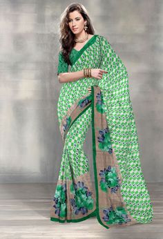 Green flower Printed Casual saree