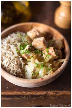 """Fondue de fenouils au wok, dès de saumon et basmati complet  (""""recette détox"""")"""