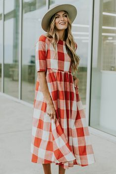 Maddie Buffalo Plaid Dress in Red Skirt Outfits Modest, Modest Dresses, Cute Outfits, Dress Me Up, I Dress, Modest Fashion, Fashion Outfits, Fashion 2017, Fashion Styles