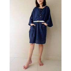 Custom Made Boho Hippie Dark Blue Cotton Short Loose by siam2u