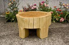 natural oak log occasional table