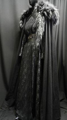 Game Of Thrones Inspired by Sansa Stark black silver dress, leather belt, cloak and shoulder's fur custom made to your size! Black And Silver Dress, Black Silver, Black Belt, Black Satin, Game Of Thrones Outfits, Game Of Thrones Dress, Sansa Stark Costume, Cool Outfits, Fashion Outfits