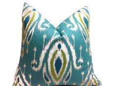 Almohadas turquesa verde lima azul almohadas Home Decor por DEKOWE