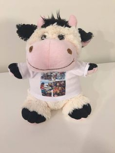 PERSONALIZED PLUSH TOY COW WITH YOUR PHOTO OR IMAGE NEWBORN GIFT #Unbranded Newborn Gifts, Your Photos, Cow, Plush, Teddy Bear, Animals, Image, Animales, Animaux