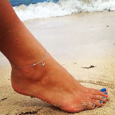 Sterling silver anklet with starfish charm and bezel set cubic zirconia. Also available with anchor charm.