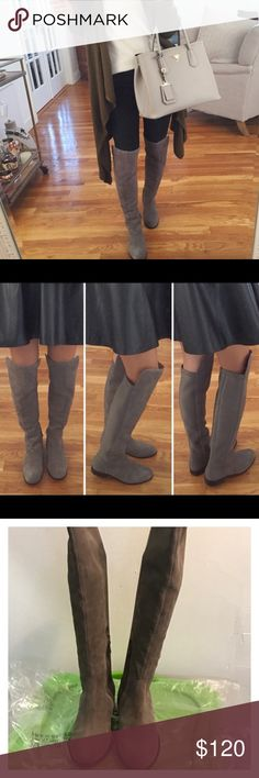Anthropologie Corso Como Laura Over the Knee Boots Define contemporary fall style in these stunning over-the-knee Corso Como™ boots! Leather or suede upper. Pull-on constuction. Stretch back panel for easy wear. Quarter-zip closure. Round toe. Leather and textile lining and footbed. Stacked heel. Synthetic sole. Imported. Measurements: Heel Height: 3⁄4 in Weight: 15 oz Circumference: 14 in Shaft: 21 in. EUC with some very small and unnoticeable spots on one boot. Pictures available upon…