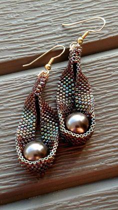 """Peyote & Swarovski pearl earrings, gf wires.  2.5"""" long."""