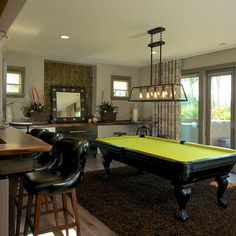 Game Room Design Ideas, we love the fixture over the pool table,