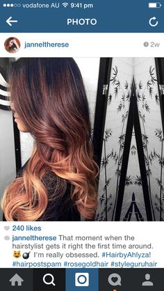 Brown to rose gold ombre