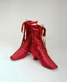 Red silk shoes, ca. 1870.