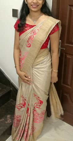Tussar silk saree with peacock embroidery and designer blouse