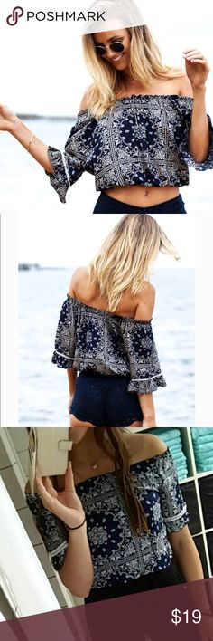 Off Shoulder Sexy Ruffled Summer Beach Blouse Description and measurements to come! Tops Blouses