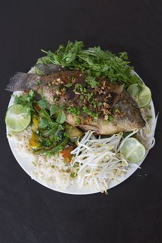 Crispy Thai Style Fish, Eggplant Basil Stir Fry and Jasmine Rice @Christine Gilbert